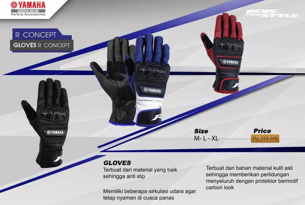 Sarungan tangan motor kulit Yamaha R Series